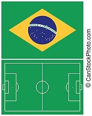 Brazil flag and soccer field