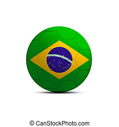 Brazil flag ball isolated on white background
