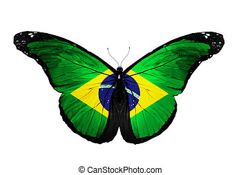 Brazil flag butterfly flying, isolated on white background