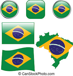 Brazil flag buttons - vector