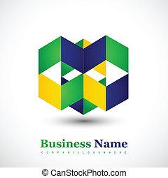 Brazil flag concept creative business icon colorful vector