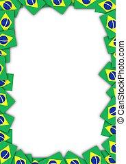 Brazil flag frame - Illustrated frame made of Brazil flags