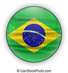 Brazil Flag Glossy Button. world football