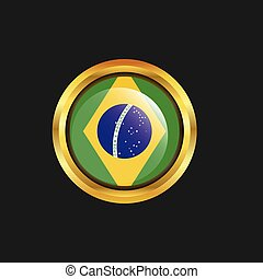 Brazil flag Golden button