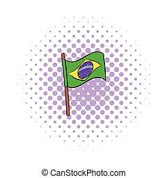 Brazil flag icon, comics style