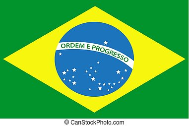 Brazil flag icon. Isolated on white background. Vector illustration.