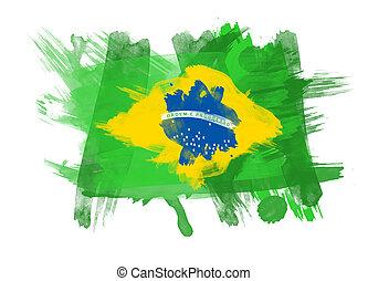Brazil Flag in White Background