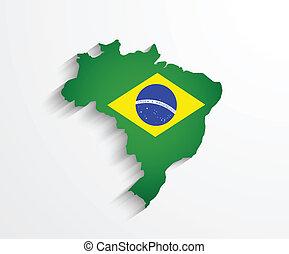 Brazil flag map with shadow effect presentation