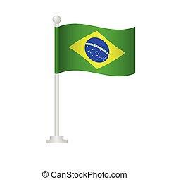 Brazil flag. National flag of Brazil on pole vector