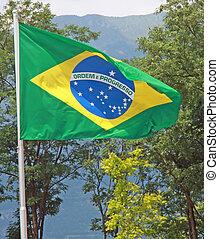 Brazil flag of Brazil that move in the wind fan