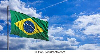 Brazil flag on a blue sky background. 3d illustration