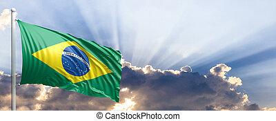 Brazil flag on blue sky. 3d illustration