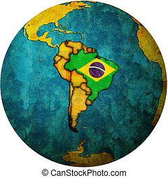 brazil flag on globe map - map with flag of brazil on...