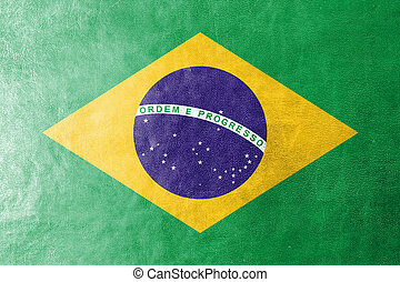 Brazil Flag on leather texture