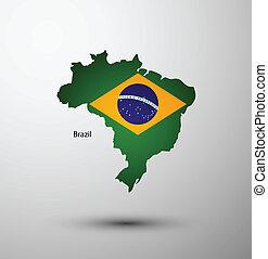 Brazil flag on map
