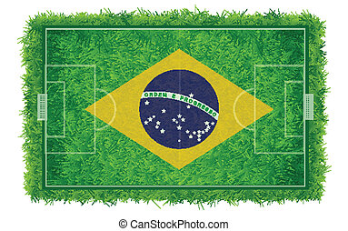 Brazil flag on soccer field with realistic grass texture, Vector