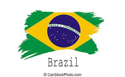 Brazil flag on white background