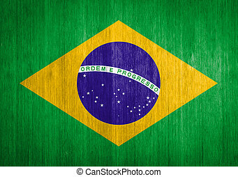 Brazil Flag on wood background