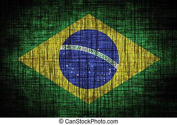 Brazil flag on wood texture