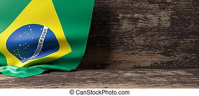 Brazil flag on wooden background. 3d illustration