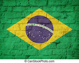 Brazil flag painted on brick wall background