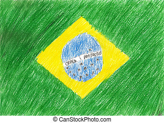 Brazil flag, pencil drawing illustration kid style photo image