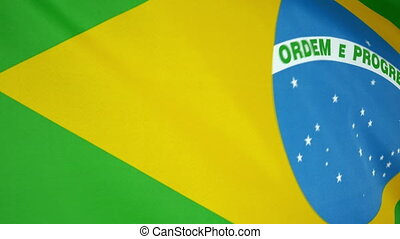 Brazil Flag real fabric Close up 4K - Textile flag of Brazil...