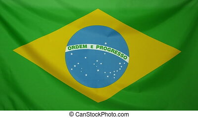 Brazil Flag real fabric Close up 4K - Textile flag of Brazil...