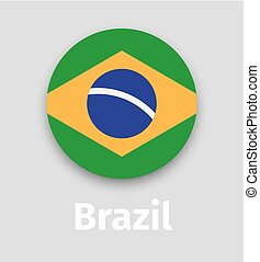 Brazil flag, round icon with shadow