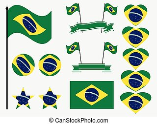 Brazil flag set. Collection of symbols, flag in heart. Vector illustration