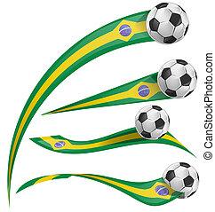 brazil flag set with soccer ball