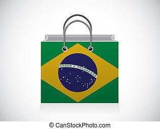 Brazil flag shopping bag illustration design over a white ...