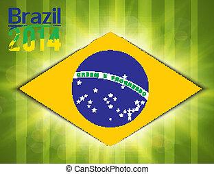 Brazil flag. Soccer ball, world cup football 2014.