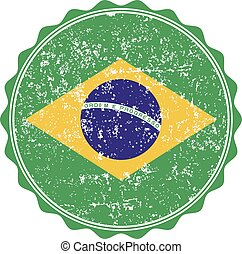 Brazil flag stamp with grunge. Vector illustration