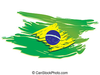 brazil flag stylized on a white background paint with a...