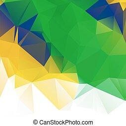 Brazil flag vector geometric background pattern concept with green triangles