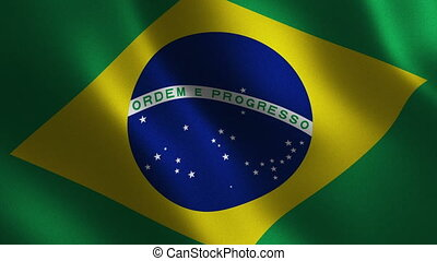 Brazil flag waving 3d. Abstract background. Loop animation.
