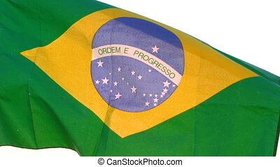 Brazil flag waving over white background. Pride of Brazilian...