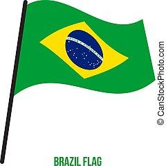 Brazil Flag Waving Vector Illustration on White Background. Brazil National Flag.