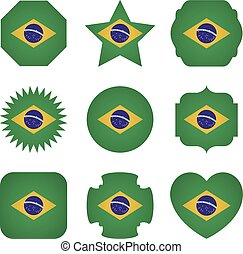 Brazil flag with different shapes on a white background