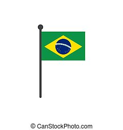 brazil flag with pole icon vector isolated on white background