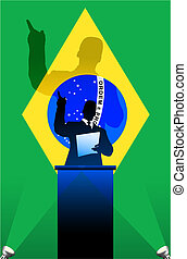 Brazil flag with political speaker behind a podium