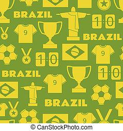 Brazil Football Seamless Pattern