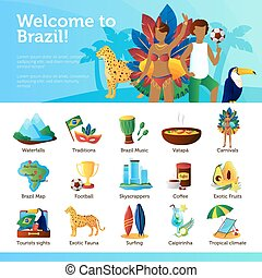 Brazil For Travelers Infographic Flat Poster