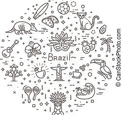 Brazil icon set. Flat design