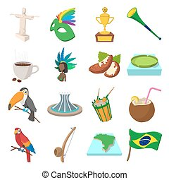 Brazil icons cartoon