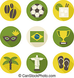 Brazil Icons Collection - A set of nine flat design Brazil...