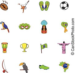 Brazil icons set cartoon