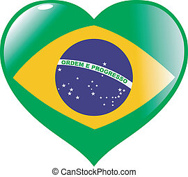 Sao Paulo Brazil State Flag In Heart Shape Gold Vector Clip - Federative republic of brazil map