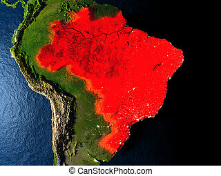 Brazil in red from space at night